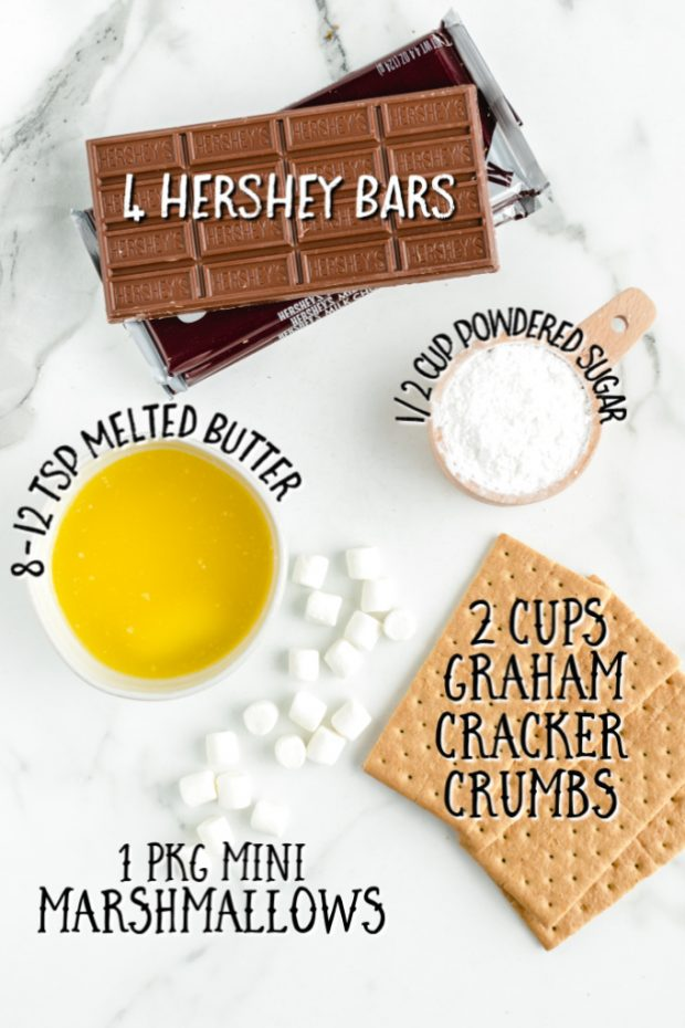 Ingredients laid out and measured for S'mores Bars