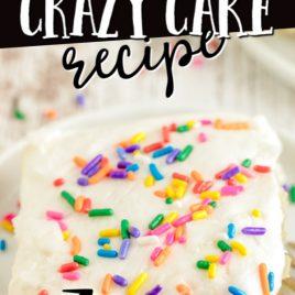 vanilla crazy cake with sprinkles