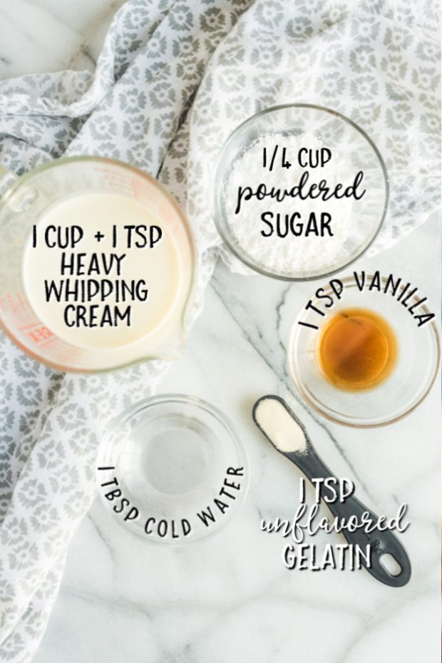 ingredients to make stabilized whipped cream laid out with measurements