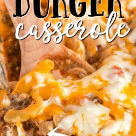 closeup of cheeseburger casserole on a wooden spoon