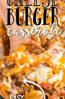 closeup of cheeseburger casserole on a wooden spoon