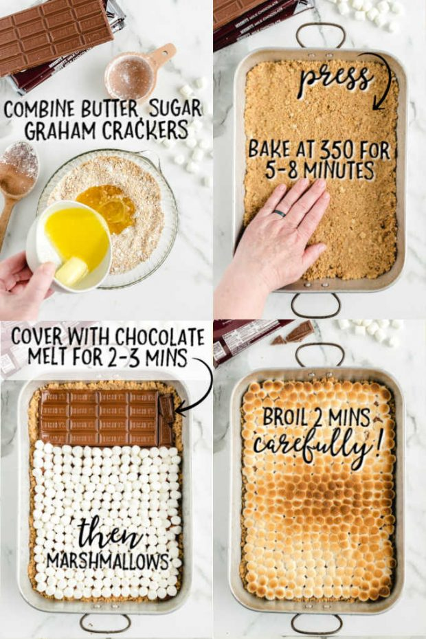 four visual steps to making s'mores bars with directions