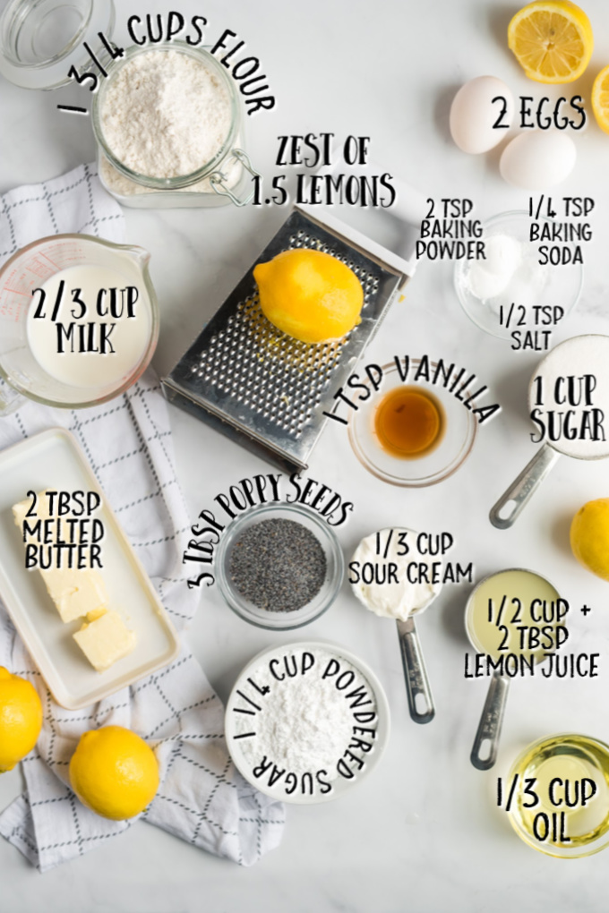 ingredients for lemon poppy seed bread with measurements