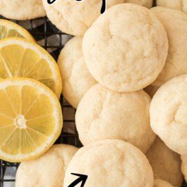 lots of lemon sugar cookies with lemon slices