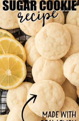 lots of lemon sugar cookies with lemon slices