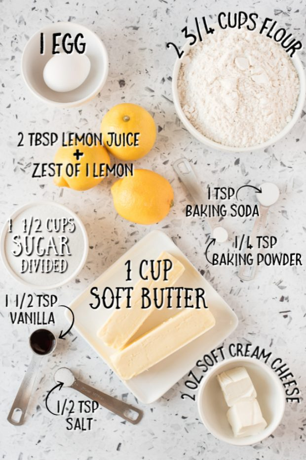 ingredients for lemon sugar cookies laid out with measurements