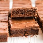close up of lunch lady brownies stacked