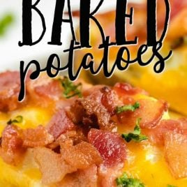 twice baked potato up close with toppings