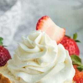 A close up of a piece of cake on a paper plate, with Whipped cream