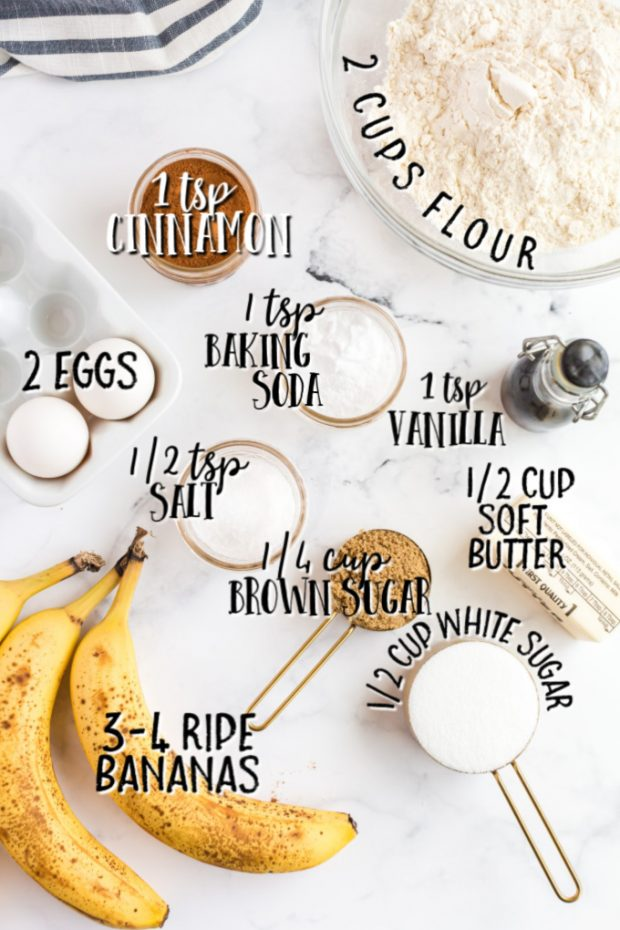 ingredients for banana bread laid out with measurements