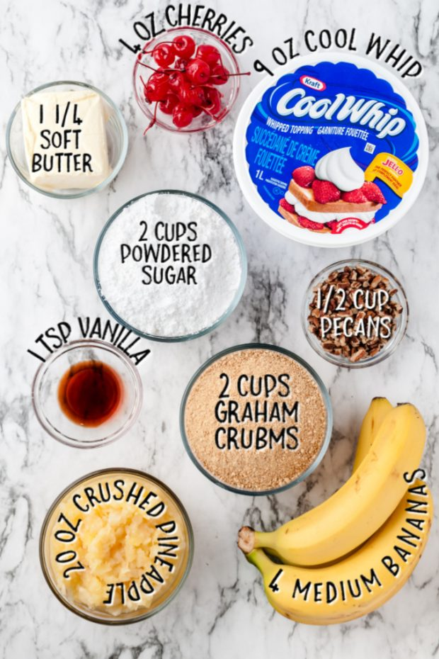 ingredients for banana split cake with measurements