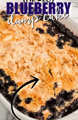 Blueberry Dump Cake in a baking dish