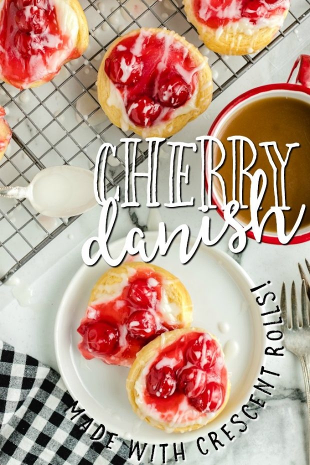 cherry danishes on plate and baking rack