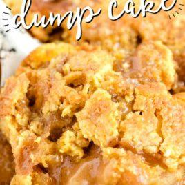 closeup of Caramel Apple Dump Cake in pan