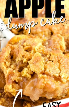 closeup of Caramel Apple Dump Cake in pan