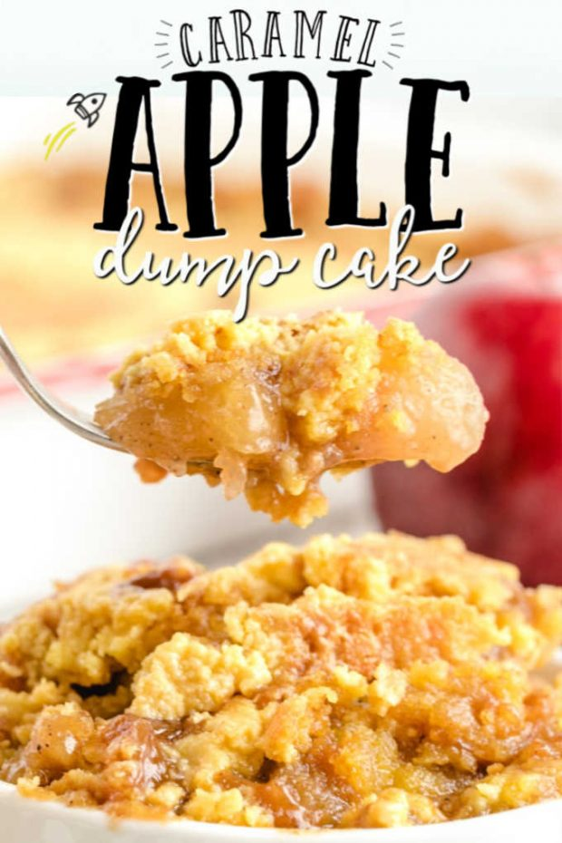Caramel Apple Dump Cake on a fork