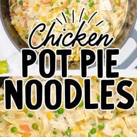 close up overhead shot of Chicken Pot Pie Noodles in a pot
