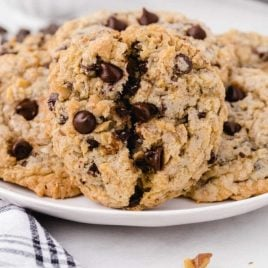 close up shot of DoubleTree cookies on a plate