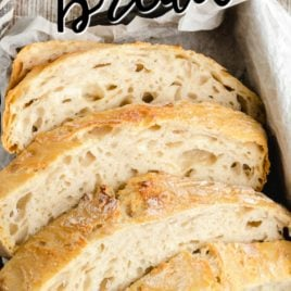 sliced No Knead Bread in bread basket