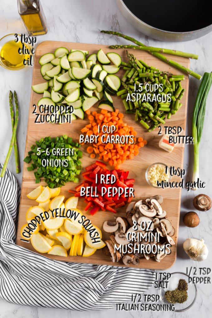 ingredients for sauteing vegetables laid out with measurements