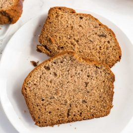 A piece of bread on a plate, with Banana bread
