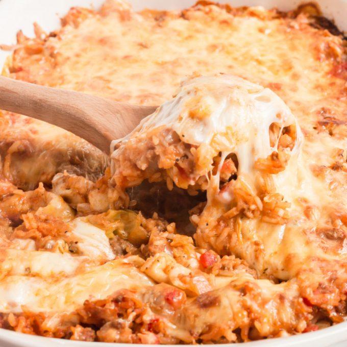cabbage roll casserole on spoon
