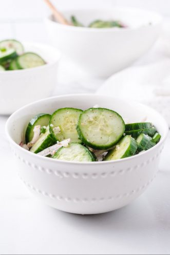 cucumber salad in a bowl