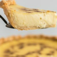 A piece of food, with Custard pie