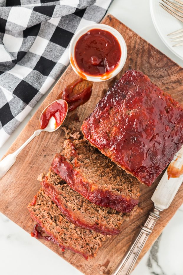 meatloaf with pieces sliced