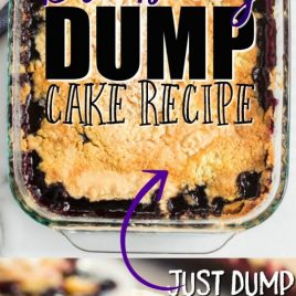 Blueberry Dump Cake in a baking dish with second photo plated with vanilla ice cream