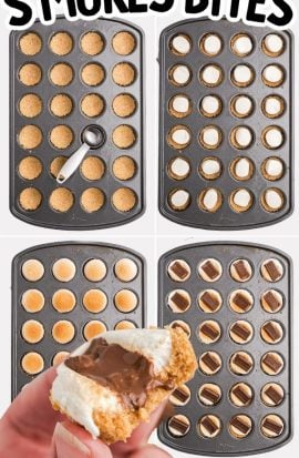 the process of s'mores bites being assembled