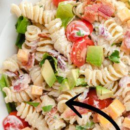 blt pasta salad closeup