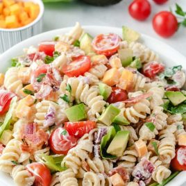 a bowl of BLT Pasta Salad