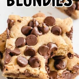 close up shot of bars of Blondies stacked on top of each other