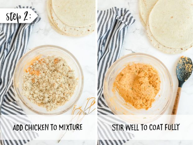 steps to make buffalo chicken pinwheels. add chicken
