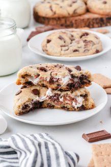 smores stuffed cookie split open
