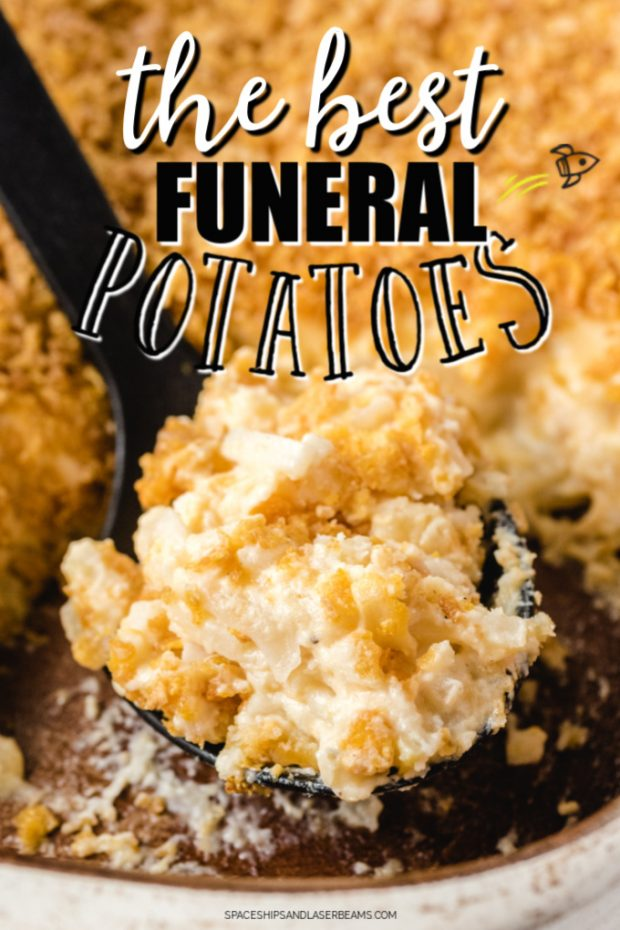 A close up of food, with Funeral potatoes and Sour cream