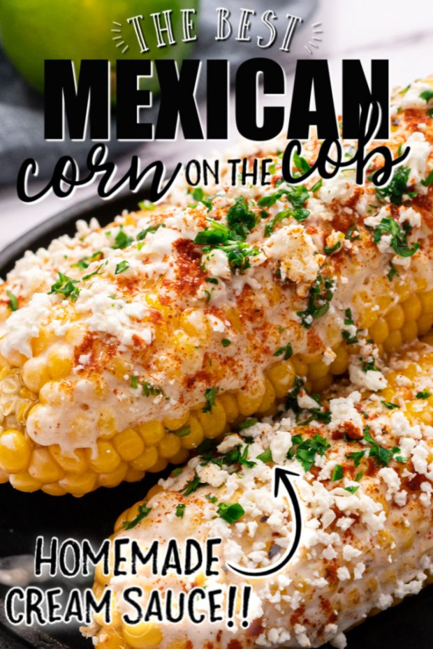 A close up of food, with Corn on the cob and Cook