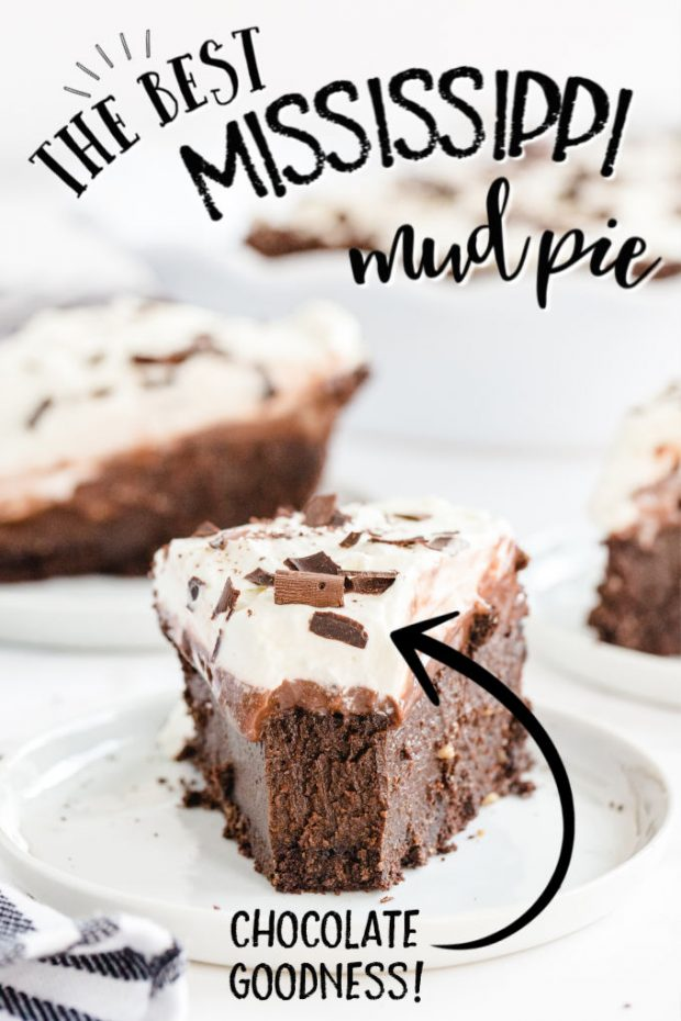 slice of Mississippi Mud Pie with bite taken out
