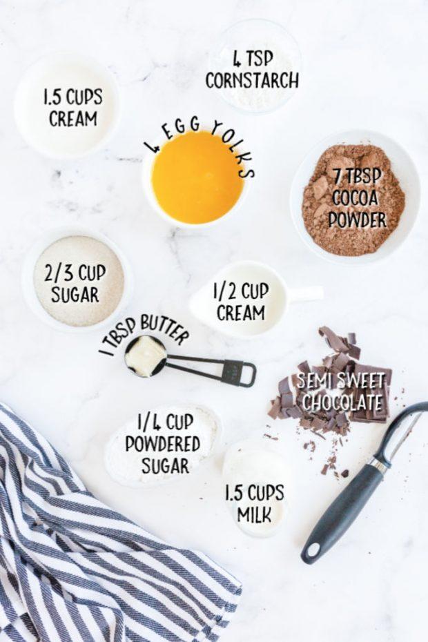 ingredients for Mississippi Mud Pie