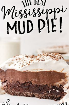 close up shot of mississippi mud pie showing its layers on a white plate