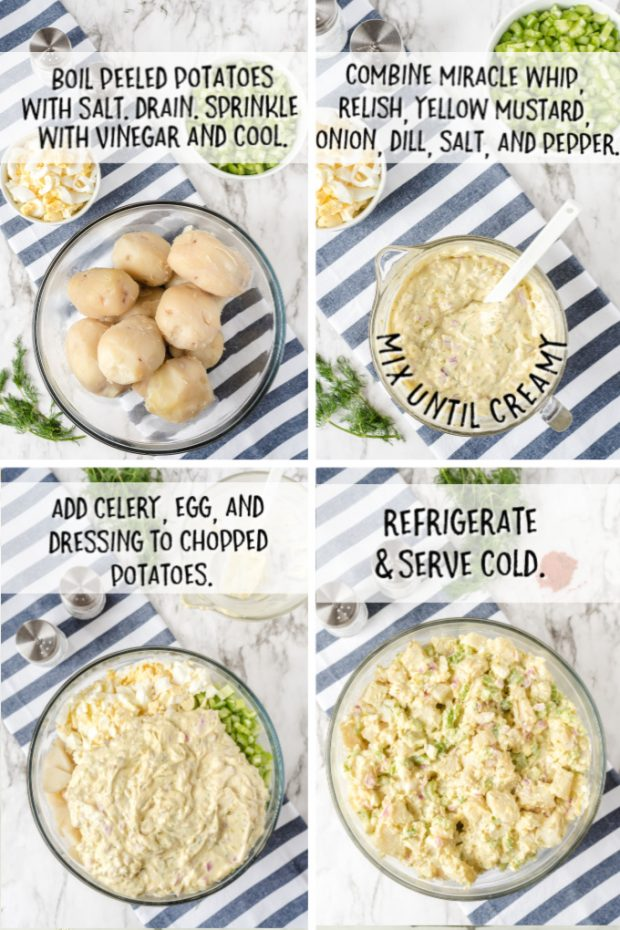 steps to make potato salad laid out in a grid