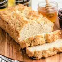 loaf of beer bread with thick slices