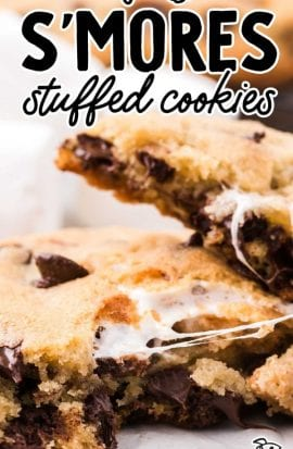 close up shot of s'mores stuffed cookies pulled apart