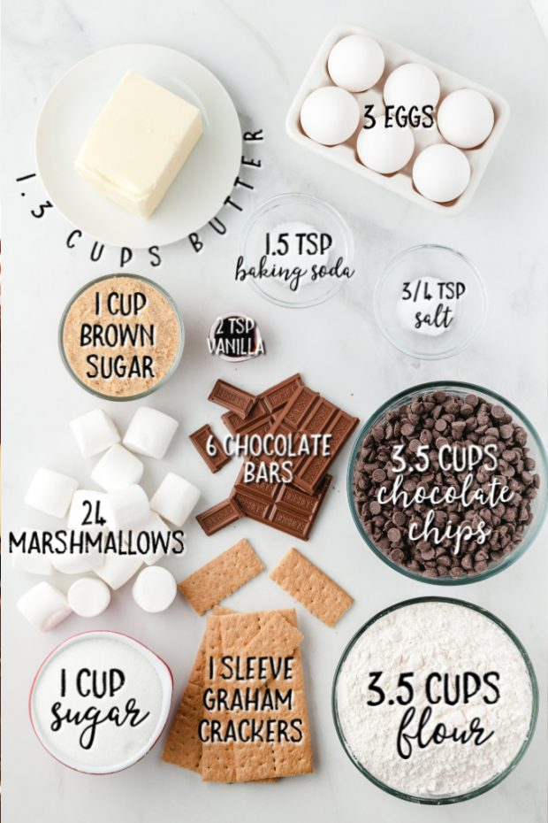 ingredients for S'mores Stuffed Cookies