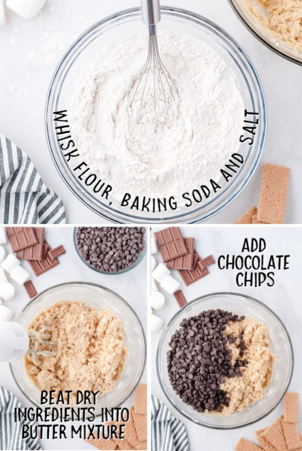 steps to make S'mores Stuffed Cookies