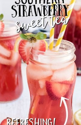 strawberry sweet tea in glass with straw