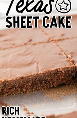 close up shot of texas sheet cake in a sheet pan