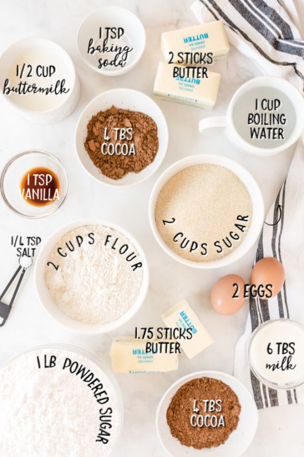 ingredients or texas sheet cake with measurements