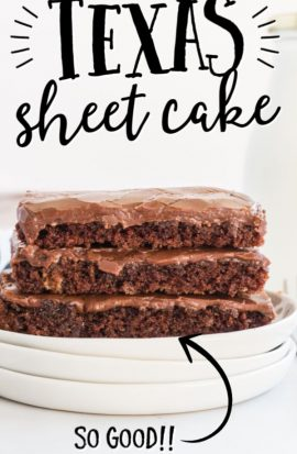 texas sheet cake slices stacked
